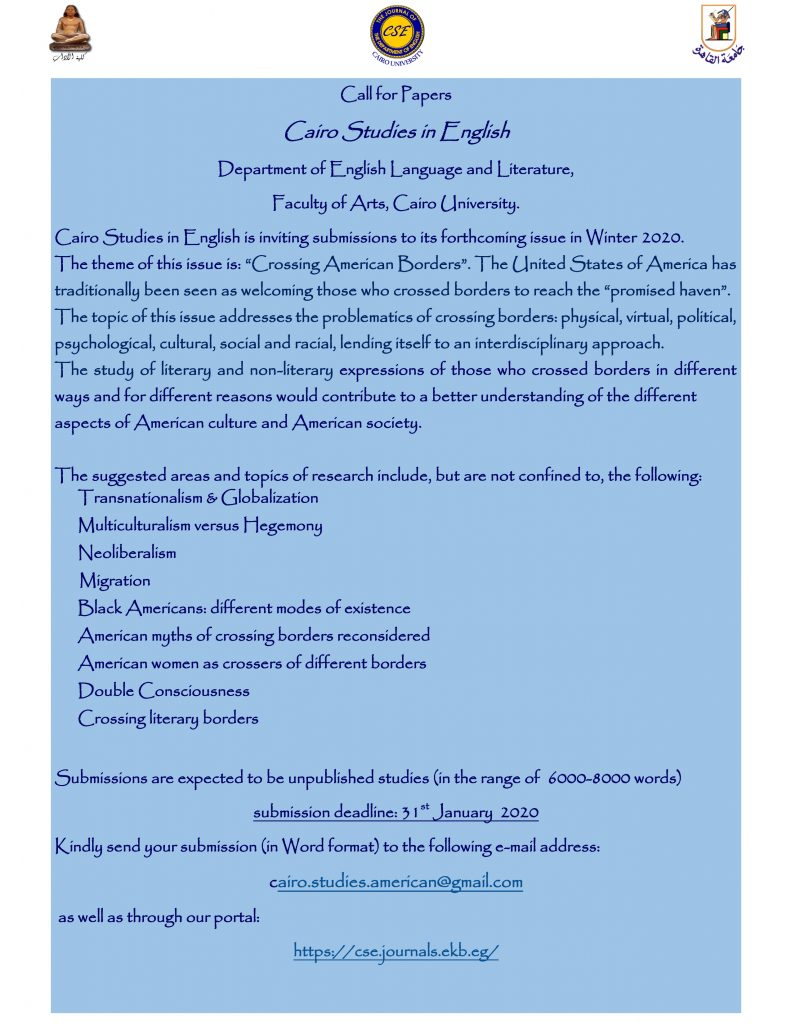 CFP for Cairo Studies in English